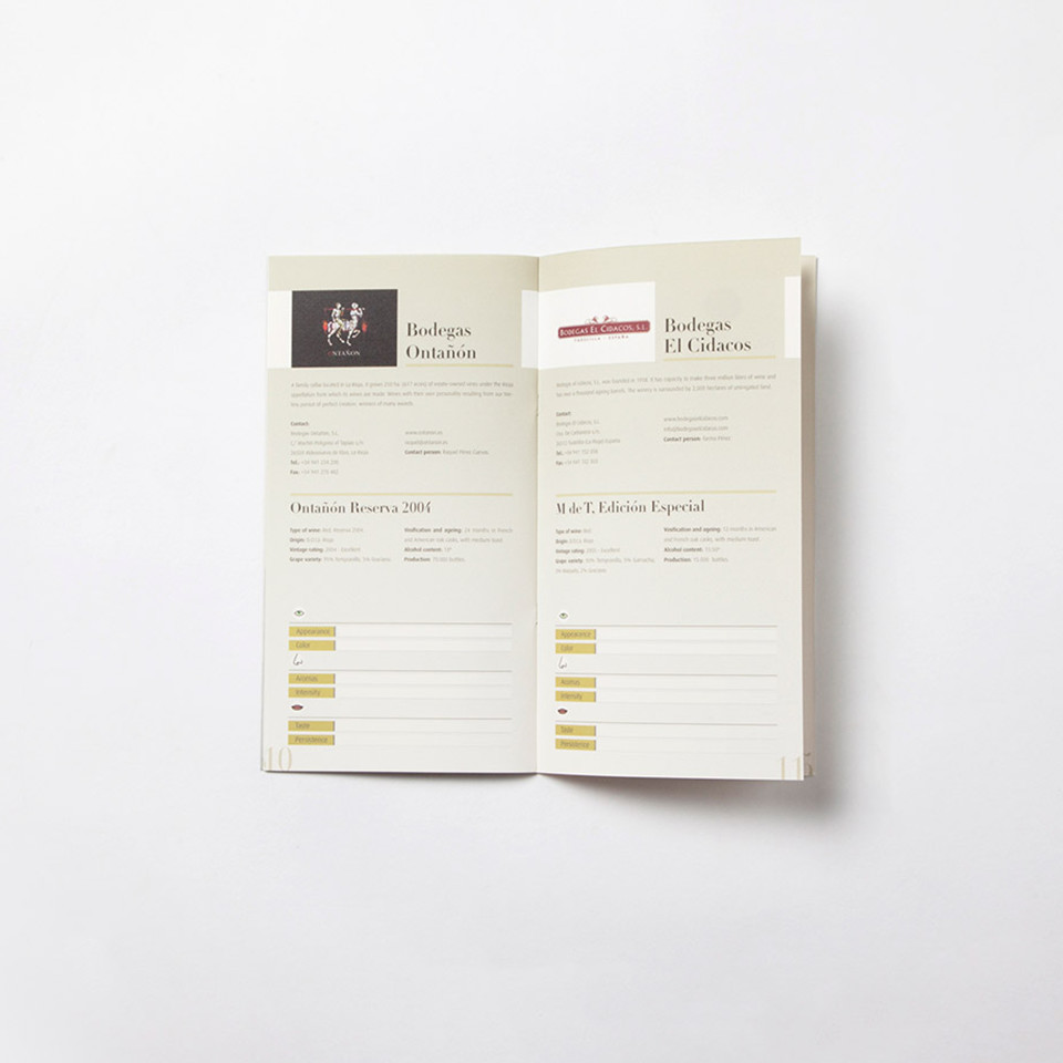 diseño catálogo vino promocional interior
