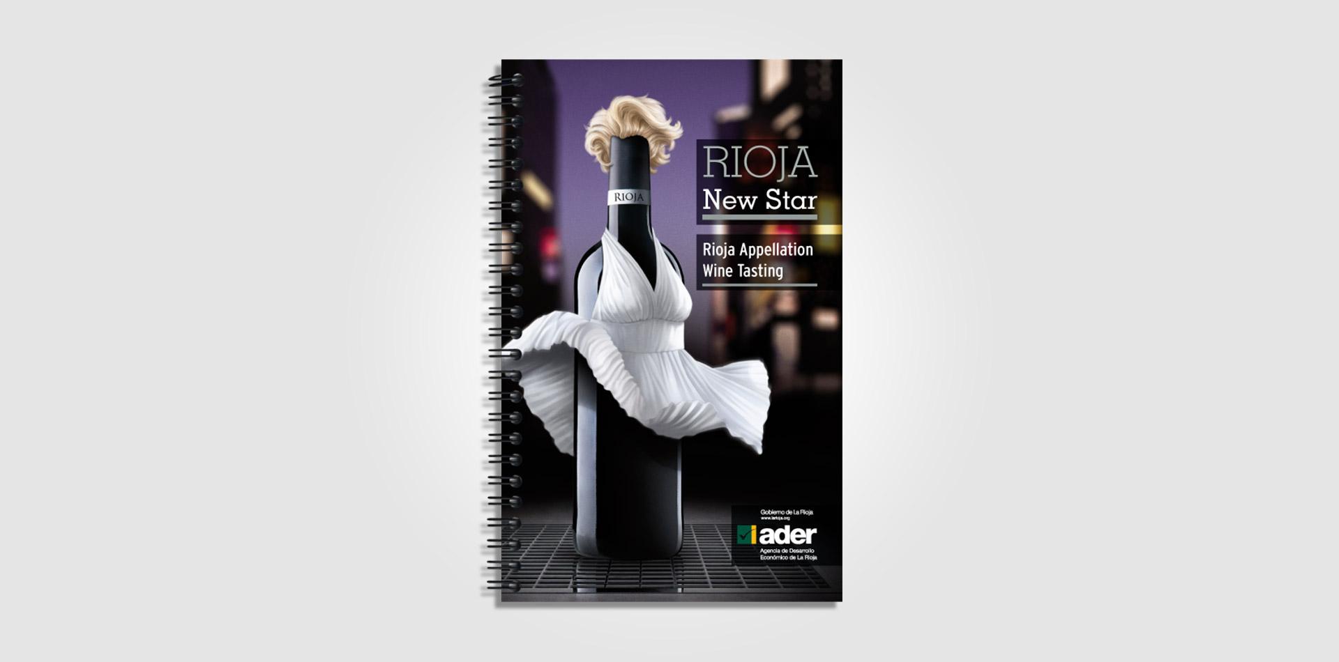 Diseño catálogo vino promocional para EE.UU