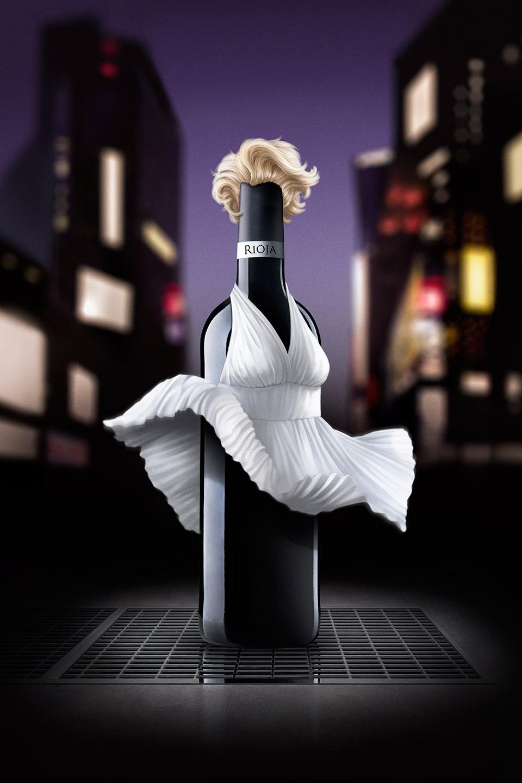 Lisutración Marilyn disfrazada botella de vino