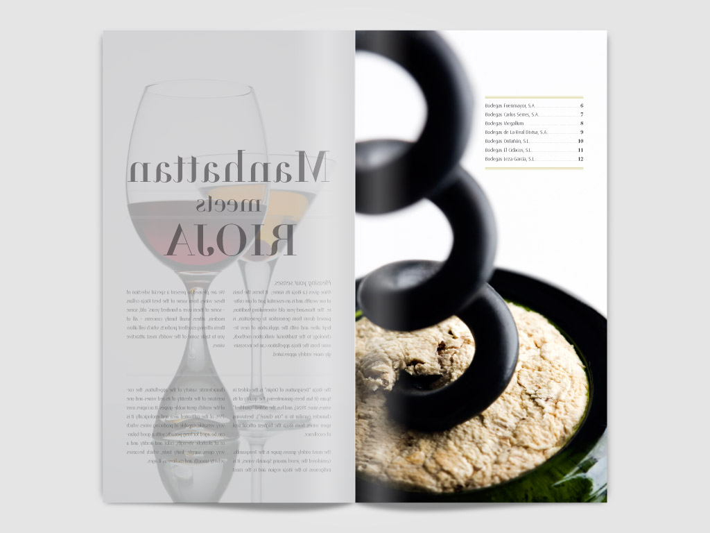 Diseño y creatividad para catalogo promocional de vino en Nueva York
