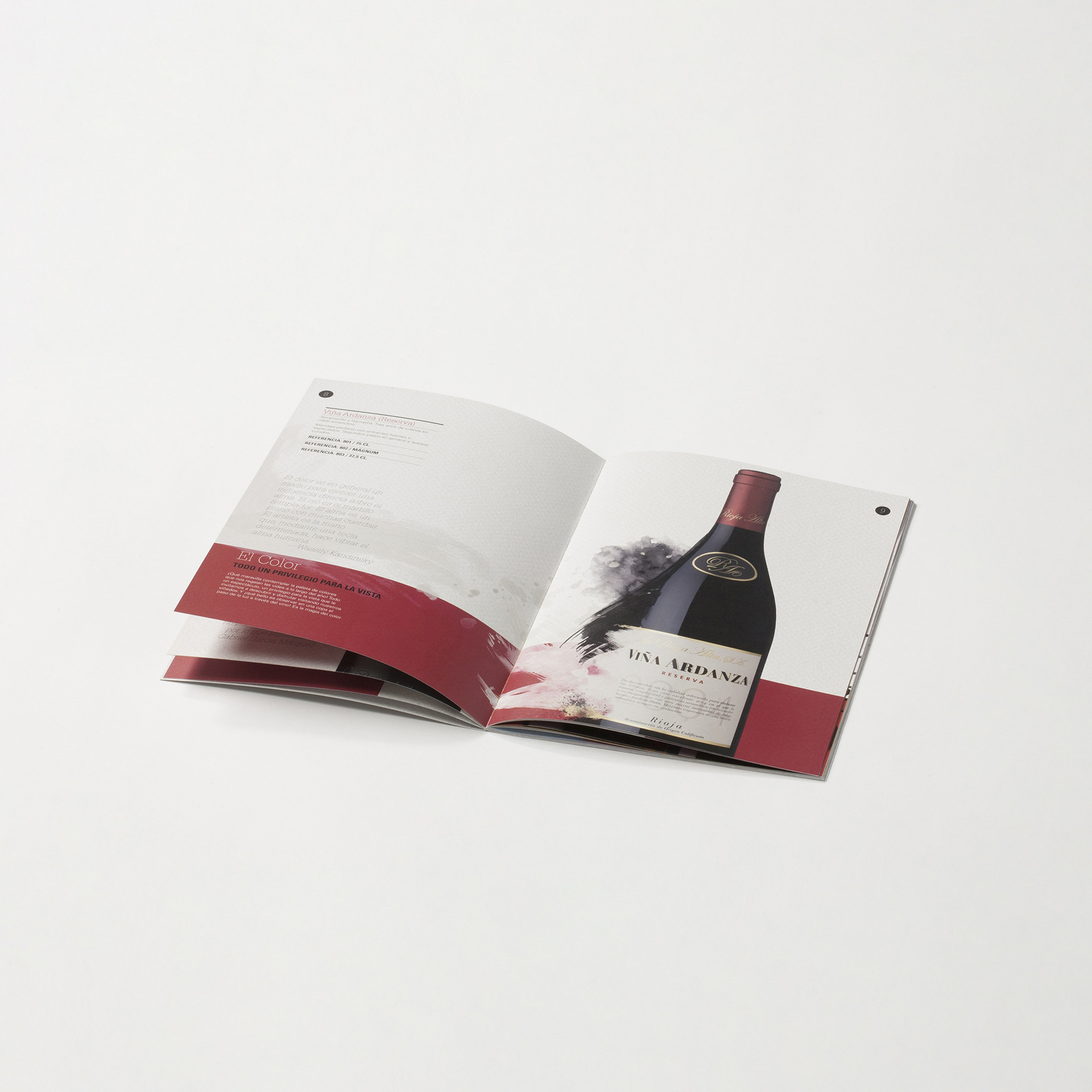 Diseño catalogo promocional vino Rioja Alta S.A.