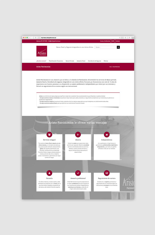 diseño web aristo patrimonio