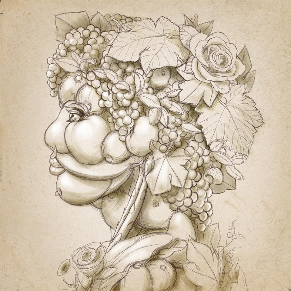 Boceto ilustración vino ecológico blanco