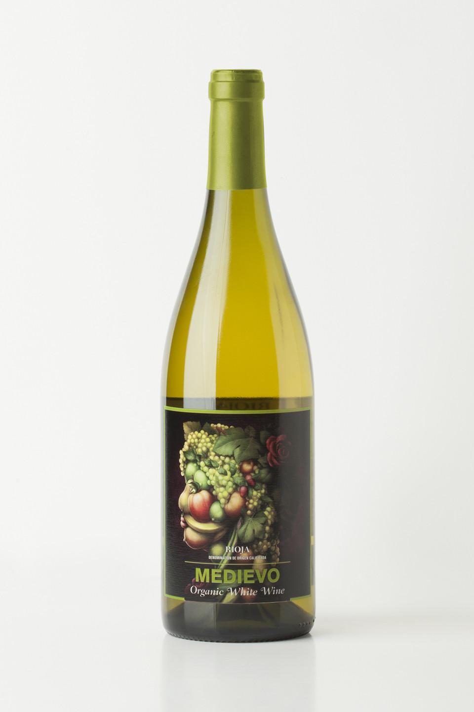 Diseno packaging etiqueta vino blanco ecológico