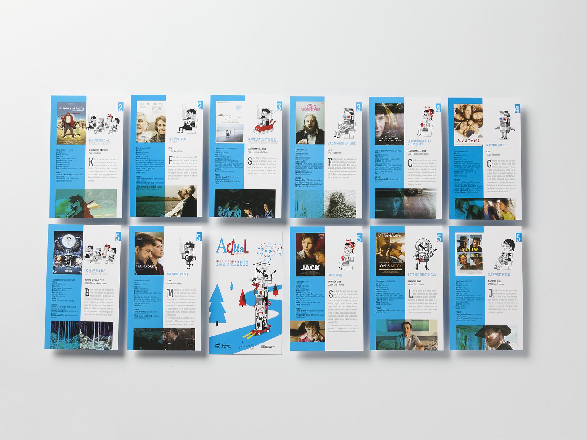 Diseño afiches peliculas Festival Actual 2016