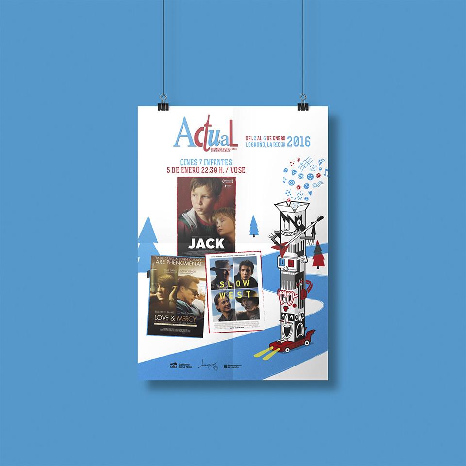 Diseño cartel programa cine Festival Actual 2016