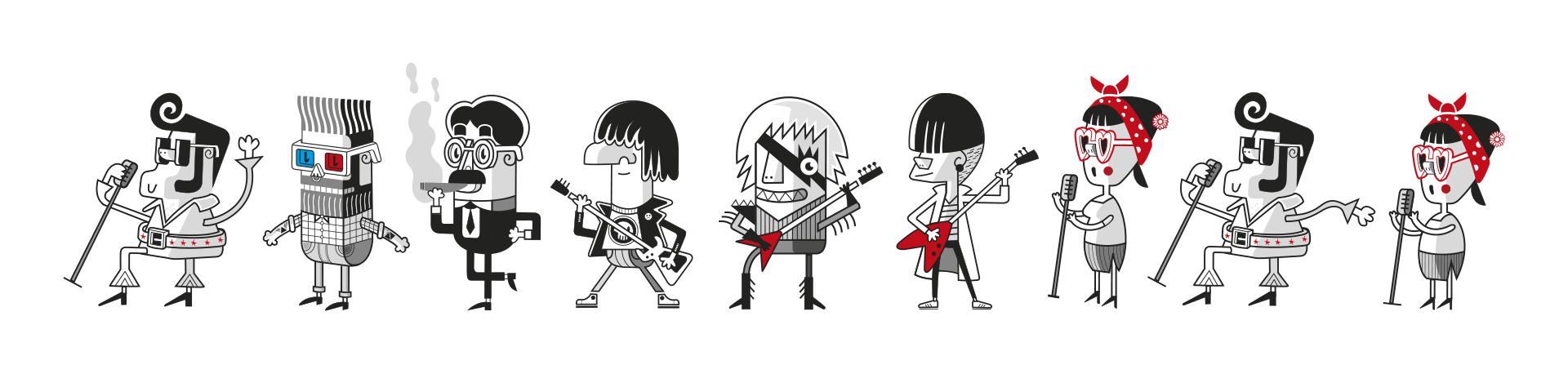 Ilustración personajes festival actual 2016