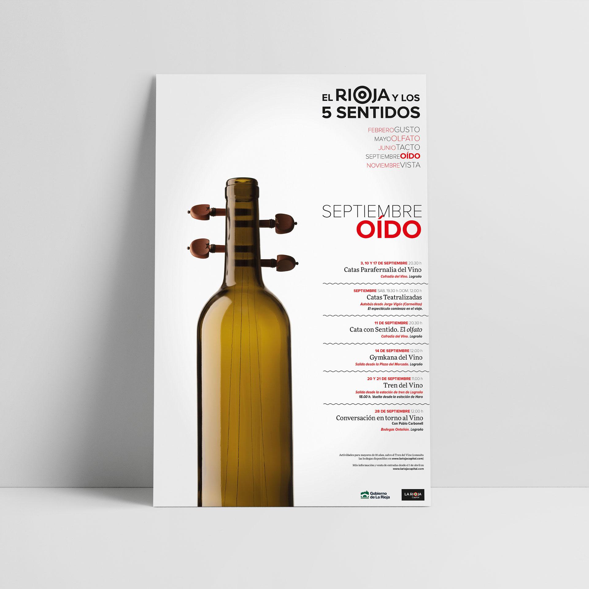 Diseño cartel el rioja y los 5 sentidos oido 2017