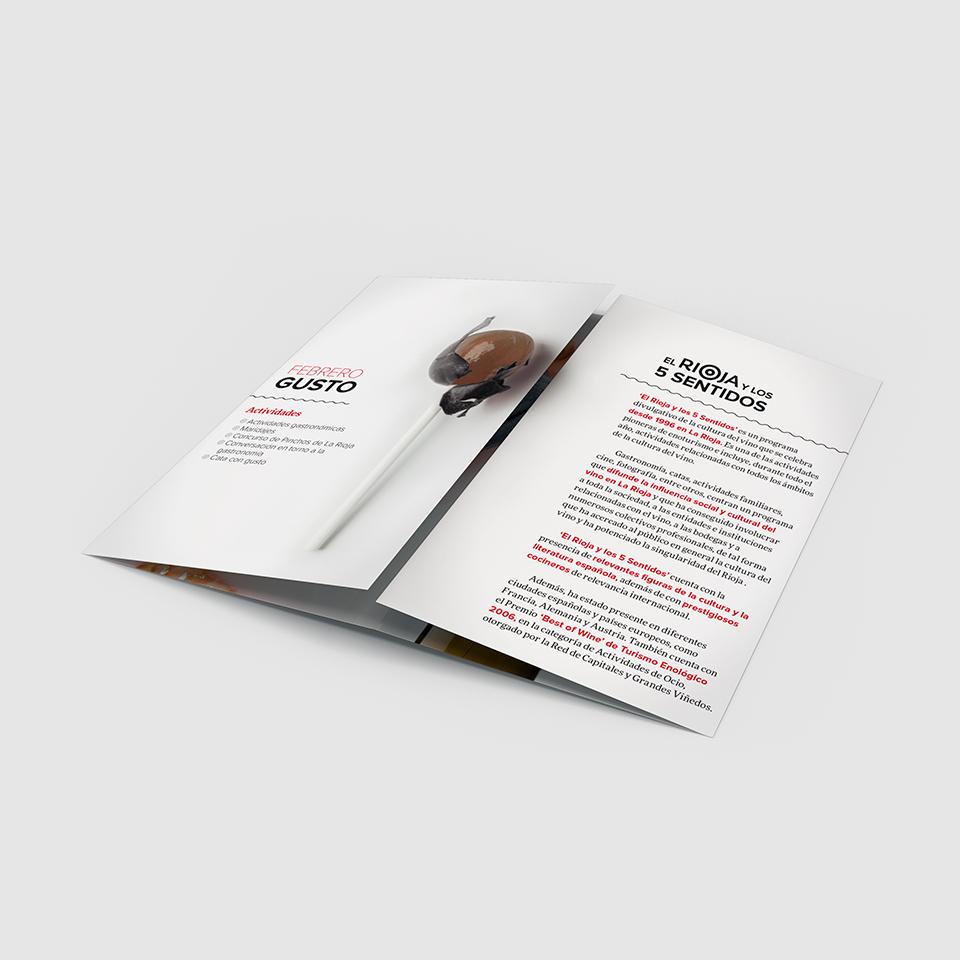 Diseño folleto el rioja y los 5 sentidos abierto