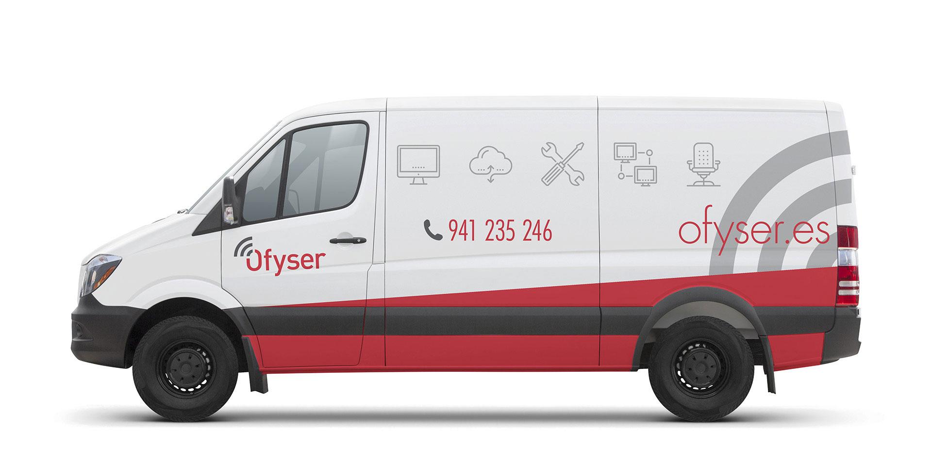 Diseño rotulación furgoneta reparto ofyser