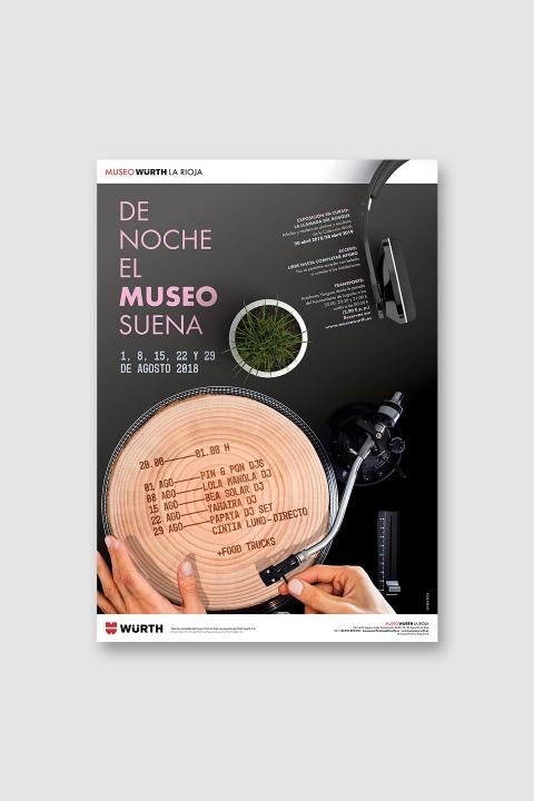 Diseño cartel «De noche, el museo suena»