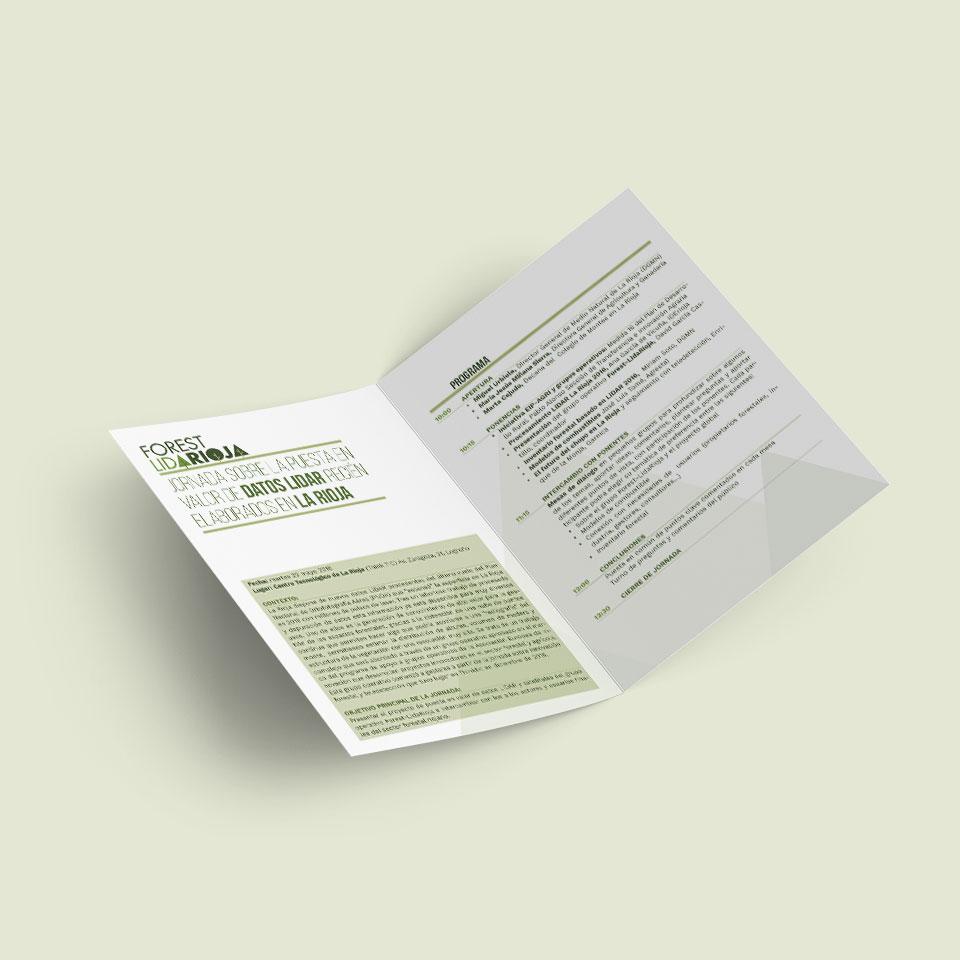 diseño díptico interior jornada Forest Lidarioja
