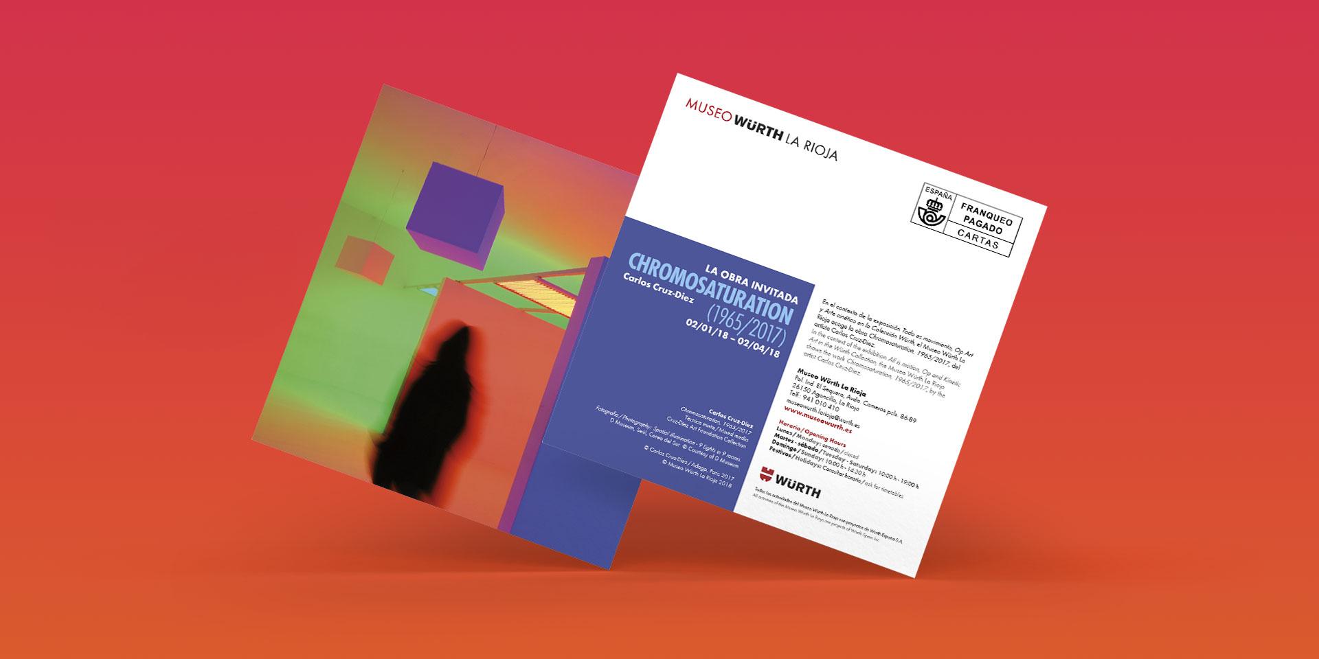 diseño invitación exposicion chromosaturation museo wurth la rioja